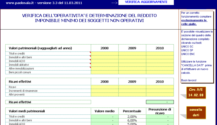 Società di comodo 2011 versione 3.3 del 11.3.2011