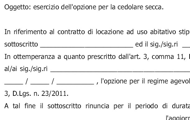 Nice Comunicazione Inquilino Opzione Cedolare Secca Modulo ...
