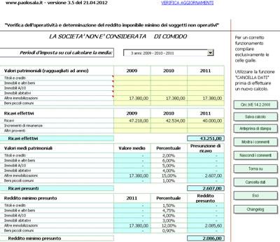 Società di comodo 2012 versione 3.5 del 21.4.2012