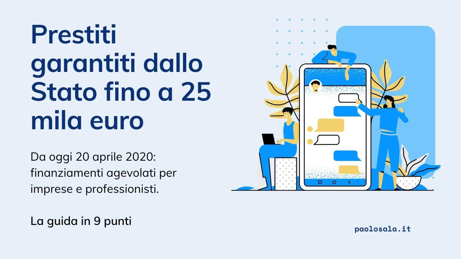 Finanziamenti agevolati fino a 25 mila euro per professionisti e imprese