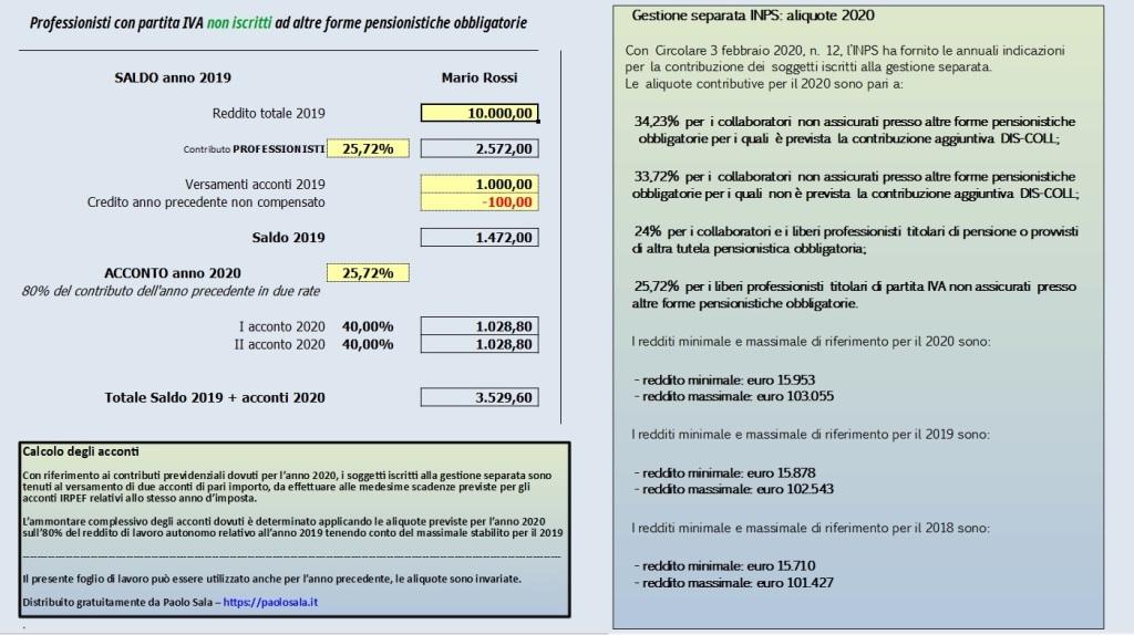 Gestione separata INPS foglio di calcolo