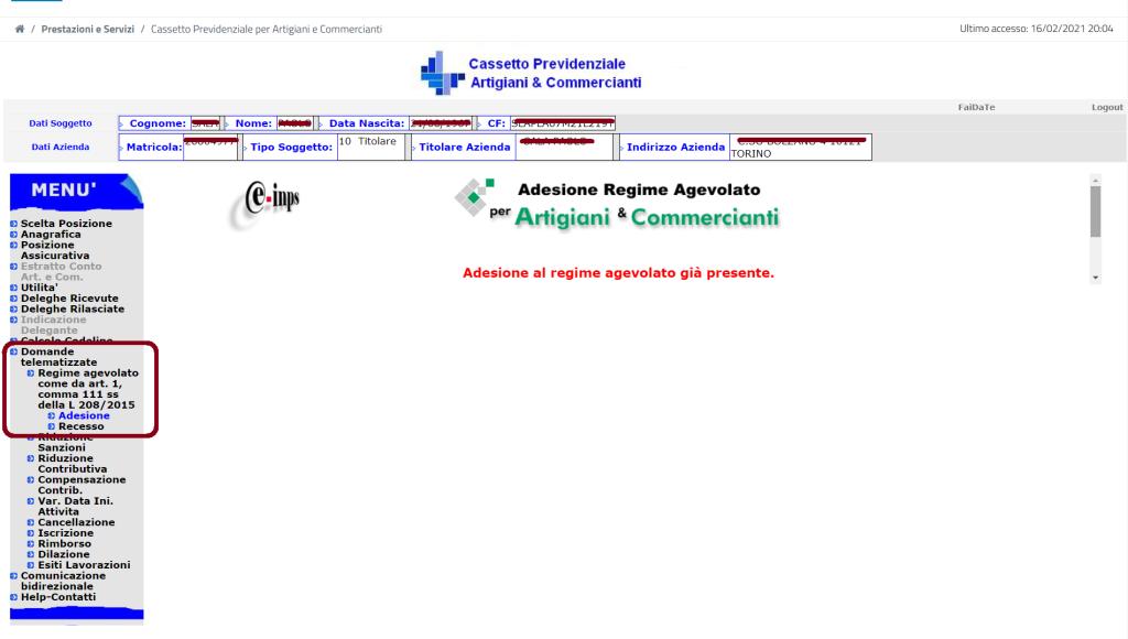 Videata per l'adesione o il recesso per richiedere i contributi ridotti - ARTIGIANI o COMMERCIANTI